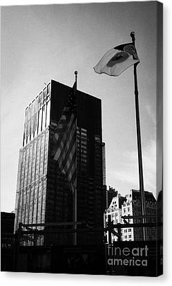 Terrorist Canvas Print - Us And New York Flags In Front Of Deutsche Bank Building Due For Demolition Liberty Street Ground Ze by Joe Fox