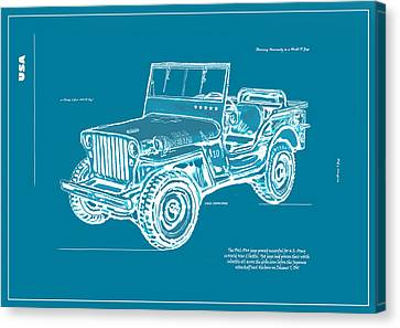 Us Army Jeep In World War 2 Art Sketch Poster-2 Canvas Print by Kim Wang