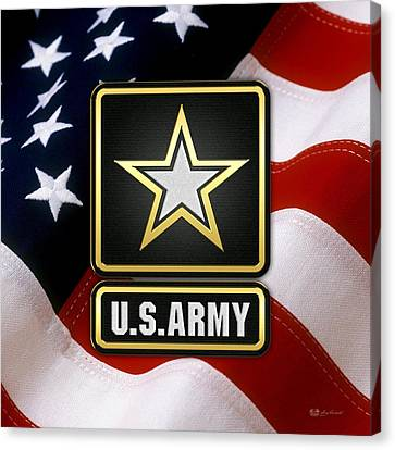 U. S. Army Logo Over American Flag. Canvas Print