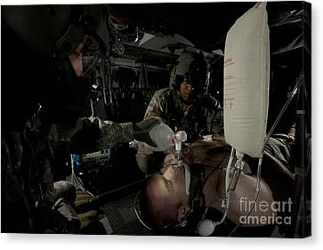 U.s. Army Medics Simulating Ventilation Canvas Print by Terry Moore
