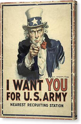 Us Army Recruitment Poster Canvas Print by Library Of Congress