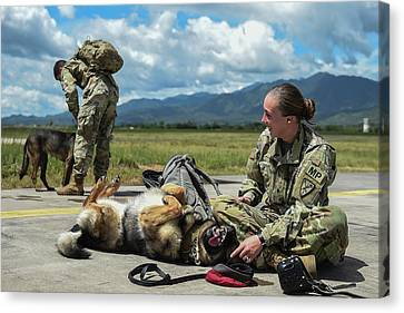 U.s. Army Specialist And Her Military Canvas Print