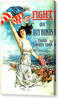 Fight Or Buy Bonds Canvas Print by US Army WW I Recruiting Poster