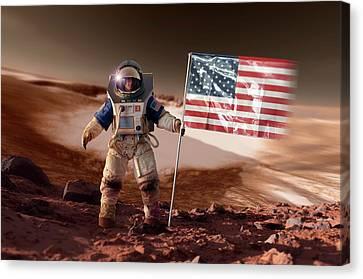 Us Astronaut On Mars Canvas Print by Detlev Van Ravenswaay