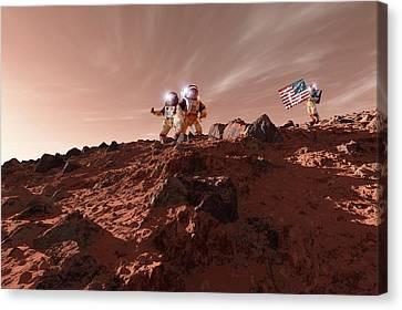 Us Astronauts On Mars Canvas Print