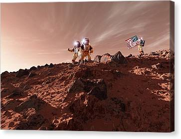 Us Astronauts On Mars Canvas Print by Detlev Van Ravenswaay