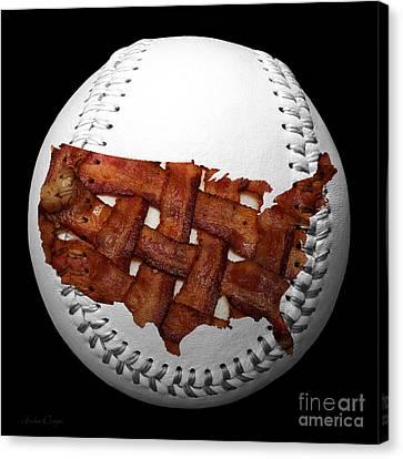 Us Bacon Weave Map Baseball Square Canvas Print