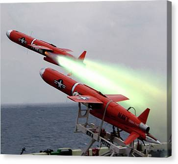 Us Bqm-74 Test Drones Launch Canvas Print by Us Navy/nicholas C. Messina
