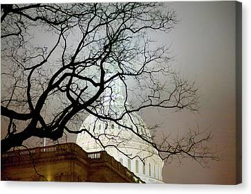 Us Capitol At Night In Fog, Washington Canvas Print