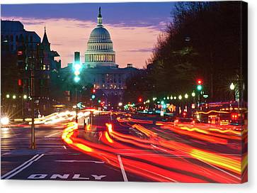 Long Street Canvas Print - Us Capitol Building At Dusk by Panoramic Images