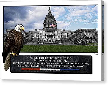 Us Capitol With Eagle Canvas Print by Rose Borisow