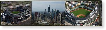 Us Cellular And Wrigley Field Chicago Baseball Parks 3 Panel Composite 02 Canvas Print by Thomas Woolworth