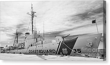 Us Coast Guard Cutter Ingham Whec-35 - Key West - Florida - Panoramic - Black And White Canvas Print by Ian Monk