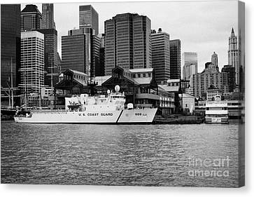 Us Coastguard Cutter Vessel Ship Berthed In Lower Manhattan On The East River New York City Canvas Print