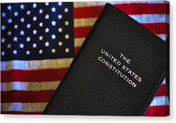 United States Constitution And Flag Canvas Print