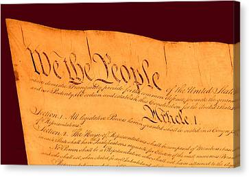 Us Constitution Closest Closeup Red Brown Background Canvas Print by L Brown
