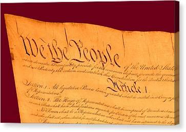 Us Constitution Closest Closeup Violet Red Background Canvas Print by L Brown