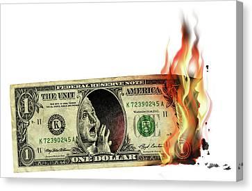 Us Dollar Crisis Canvas Print by Smetek