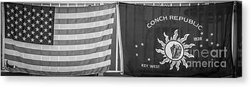 Us Flag And Conch Republic Flag Key West  - Panoramic - Black And White Canvas Print