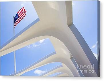 U.s.  Flag At The Uss Arizona Memorial Canvas Print by Diane Diederich