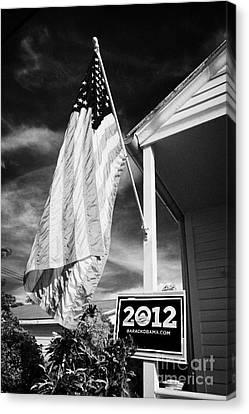 Barack Obama Canvas Print - Us Flag Flying And Barack Obama 2012 Us Presidential Election Poster Florida Usa by Joe Fox