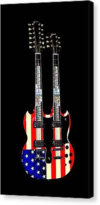U S Flag Gibson Guitar Poster Canvas Print by Jean Goodwin Brooks