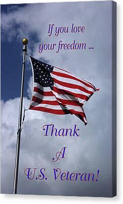 Us Flag Thank A Vet Canvas Print