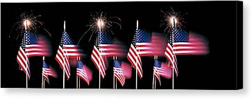 Us Flags And Fireworks Canvas Print by Panoramic Images