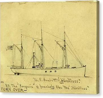 U.s. Gunboat Albatross, Between 1860 And 1865 Canvas Print by Quint Lox