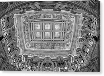 Us Library Of Congress Bw Canvas Print by Susan Candelario