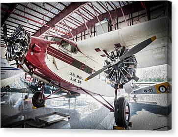 U.s. Mail Carrier Vintage Airplane   Canvas Print by Rich Franco