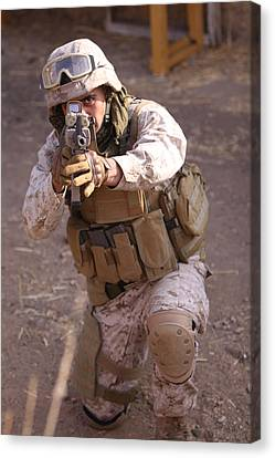 Us Marine At Work Canvas Print by Shoal Hollingsworth