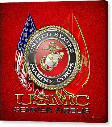 Canvas Print featuring the digital art U. S. Marine Corps U S M C Emblem On Red by Serge Averbukh