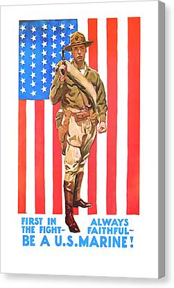 Canvas Print featuring the mixed media U.s. Marine by Presented By American Classic Art