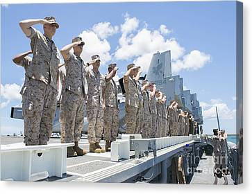 U.s. Marines And Sailors Render Honors Canvas Print