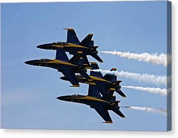 Us Navy Blue Angels Aerobatics Display Canvas Print by Jim West