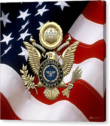 Canvas Print featuring the digital art U. S.  Navy Captain - C A P T  Rank Insignia Over Gold Great Seal Eagle And Flag by Serge Averbukh