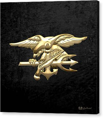 Canvas Print featuring the digital art U. S. Navy S E A Ls Emblem On Black Velvet by Serge Averbukh