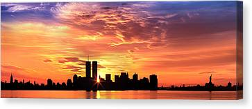 Us, New York City, Skyline, Sunrise Canvas Print by Panoramic Images