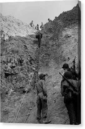 Tntar Canvas Print - U.s. Rangers Climb A Cliff Using A Rope by Everett