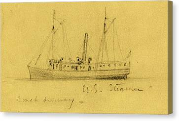 U.s. Steamer, Between 1860 And 1865, Drawing On Tan Paper Canvas Print by Quint Lox