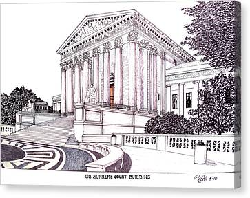 Us Supreme Court Building Canvas Print by Frederic Kohli