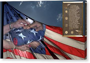 Us Veterans Burial Flag 3 Panel Composite Digital Art Canvas Print by Thomas Woolworth