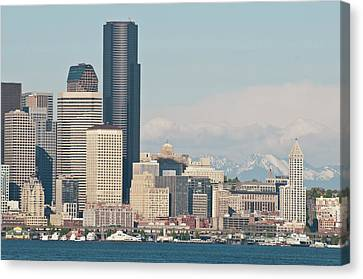 Pacific Northwest Ferry Canvas Print - Us, Wa, Seattle Downtown Waterfront by Trish Drury