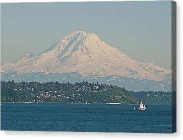Us, Wa, Seattle Volcanic Mt Rainier Canvas Print by Trish Drury
