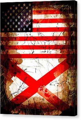 Usa Alabama Grunge Flags Canvas Print by David G Paul