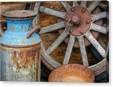 Usa, Alaska Antique Milk Can, Wagon Canvas Print