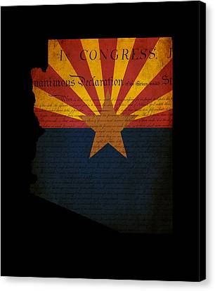 Usa American Arizona State Map Outline With Grunge Effect Flag A Canvas Print by Matthew Gibson