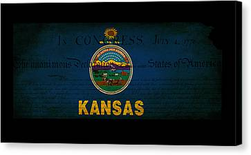 Usa American Kansas State Map Outline With Grunge Effect Flag An Canvas Print by Matthew Gibson
