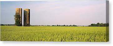 Usa, Arkansas, View Of Grain Silos Canvas Print